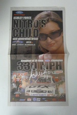 """ASHLEY FORCE """"AUTOGRAPHED USA TODAY NITRO'S CHILD AD"""" John Force Racing"""