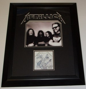 METALLICA Picture with Autographed CD Cover 17 X 20 Framed Matted and Embossed