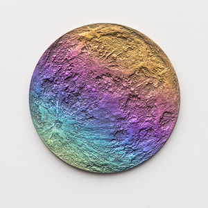 Rainbow Moon Coin - Multicolored Anodized Niobium