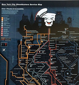 Ghostbusters - NYC Subway Map Metal Sign