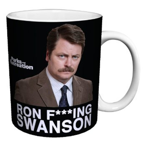 "Parks and Recreation ""Ron F*****G Swanson"" 12 oz ceramic coffee mug"