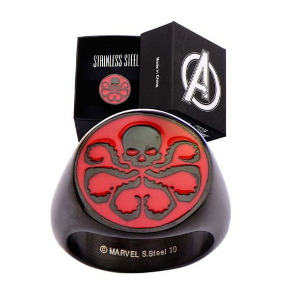 """Agents of Shield """"HYDRA RING"""" Black Stainless steel size 9"""