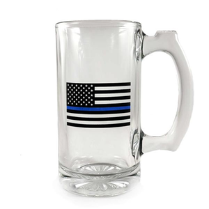 Libbey Deco Glass Mug - Thin Blue Line Flag, 12.5 Oz