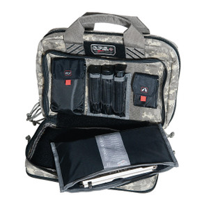 G.P.S. Tactical Quad + 2 Pistol Range Bag - Gray Digital