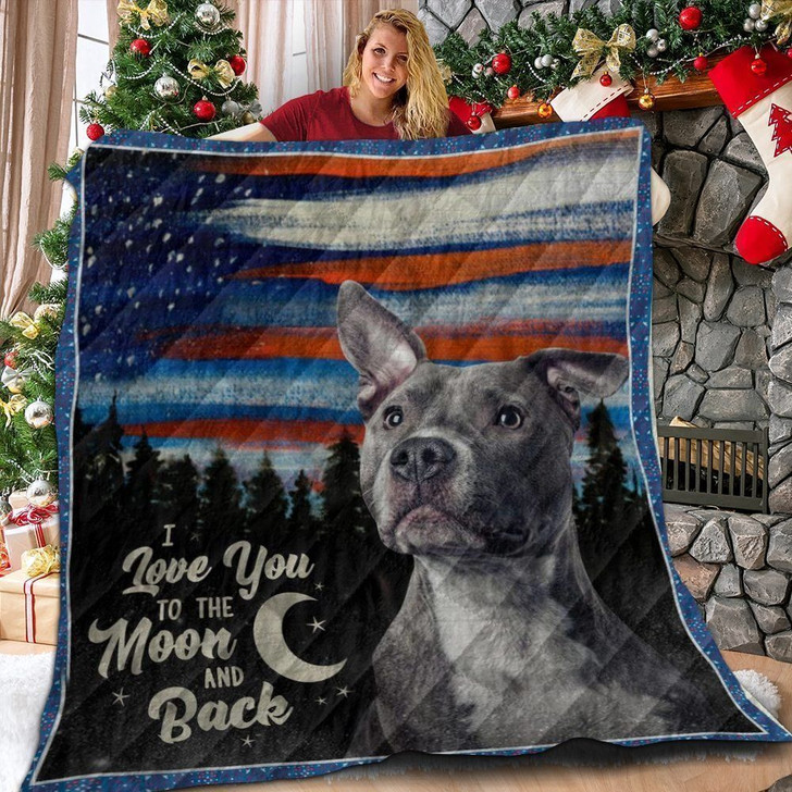 Pitbull Us Canvas Flag American I Love You To The Moon And Back Custom Quilt Qf10112