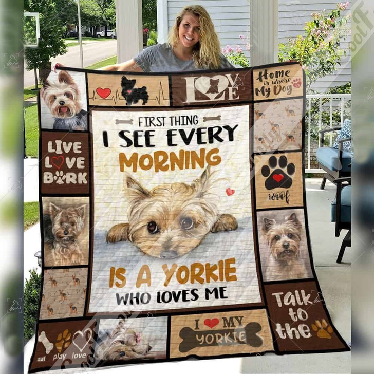 Yorkshire Terrier Dog Awesome Home Is Where My Dog Is Custom Quilt Qf1684