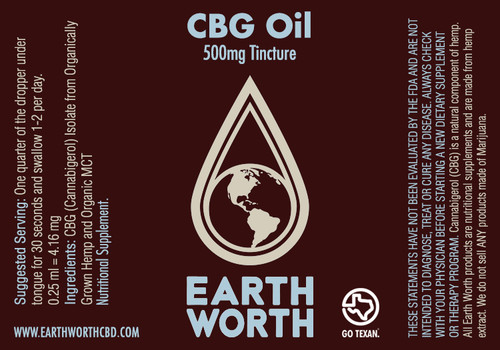 500mg CBG Tincture  0.25ml = 4.16mg 0.5ml = 8.33mg  Ingredients: Organic MCT, CGD Isolate  Helps With: Anxiety, PTSD, Stress Etc.