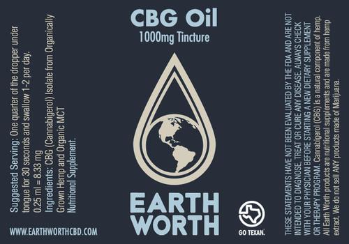 1000mg CBG Tincture  0.25ml = 8.33mg 0.5mg = 16.67   Ingredients: Organic MCT, CBG Isolate  Helps with: Anxiety, Stress, PTSD Etc.