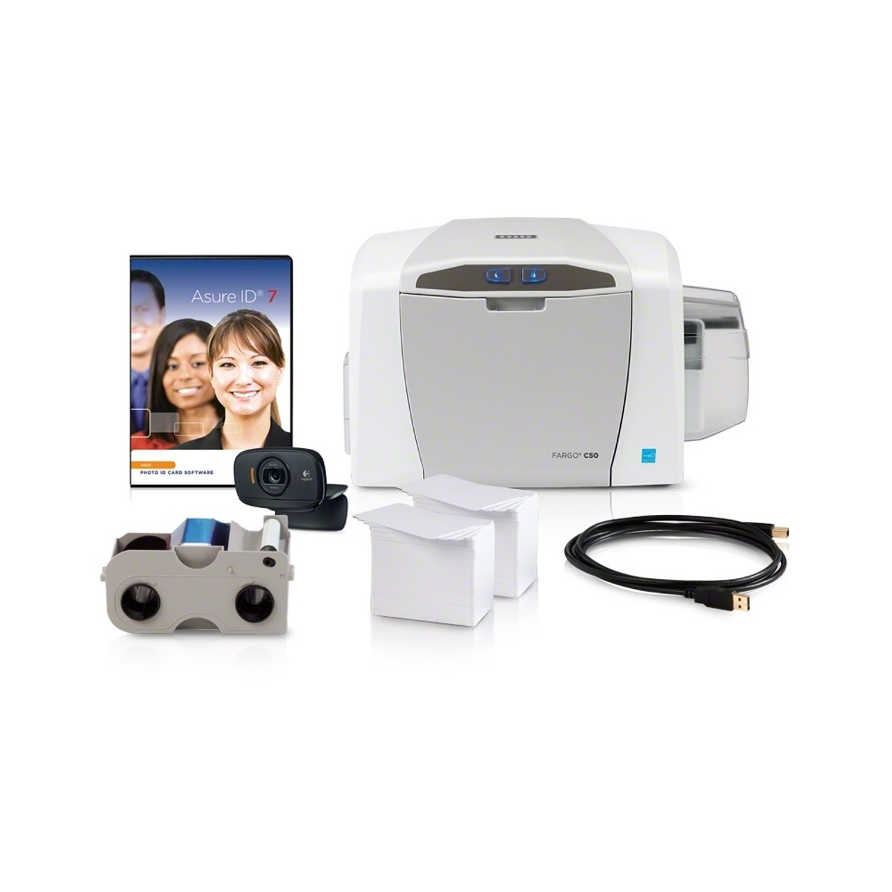 Fargo C50 Single Side Card Printer Bundle With Asure Id Solo