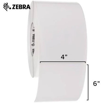 Zebra 4 x 6 in Thermal Transfer Paper Labels Z-Perform 2000T Permanent Adhesive Shipping Labels 3 in Core 4 rolls 10031657SP - 10000280