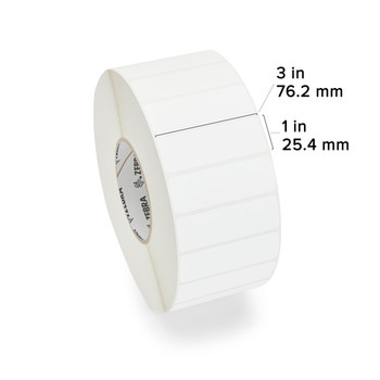 Zebra - 3 x 1 in Direct Thermal Paper labels, Z-Perform 2000D Permanent Adhesive Shipping labels, Zebra Industrial Printer Compatible, 3 in Core - with label dimensions