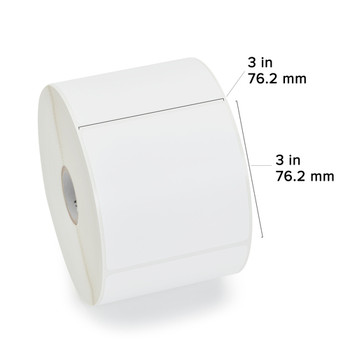 Zebra - 3 x 3 in Direct Thermal Paper labels, Z-Perform 2000D Permanent Adhesive Shipping labels, Zebra Desktop Printer Compatible, 1 in Core - 6 roll case with Dimensions