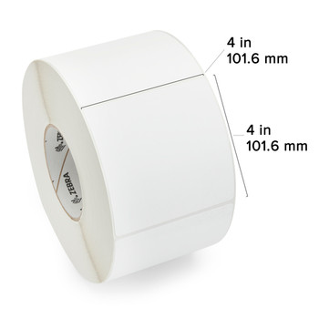 Zebra 82801 - White Label, Paper, 4 x 4in, Direct Thermal, Z-Select 4000D, 3 in core, 4 Rolls/Carton with measurements