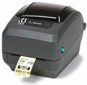 Zebra - GK420d Thermal Transfer Desktop Printer for labels, Receipts, Barcodes, Tags, and Wrist Bands - Print Width of 4 in - USB, Serial, Ethernet and Parallel Connectivity - GK42-202210-000