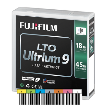 Fuji LTO 9 Tape (BaFe) with Custom Barcode Label (16659047-BC)