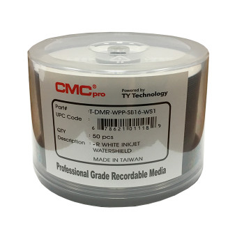 CMC Pro DVD-R Disc Water Shield 4.7GB, 16x White Inkjet Hub Printable