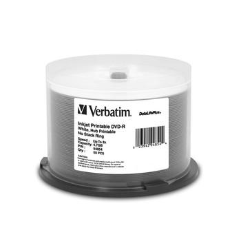 Verbatim 94854 DVD-R 4.7GB 8X, White Inkjet Hub Printable DataLifePlus