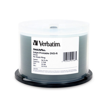 Verbatim 95186 DVD-R 4.7GB 1x/8x, Silver Inkjet Printable Surface