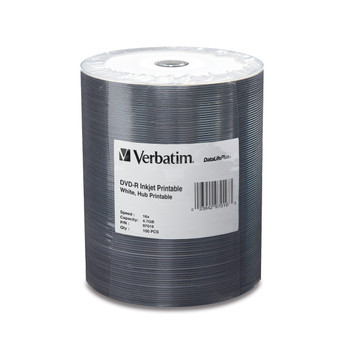 Verbatim DVD-R 4.7GB 16X DataLifePlus White Inkjet Hub Printable Tape Wrap 100 Disc Spindle