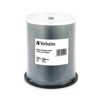 Verbatim 95252 CD-R 80MIN 700MB 52X White Inkjet Printable, Hub Printable - Spindle
