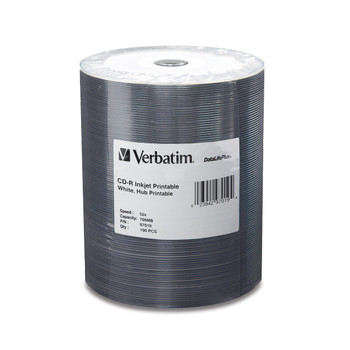 Verbatim 97019 CD-R 80 Minute 700MB 52X DataLifePlus White Inkjet Hub Printable Tape Wrap