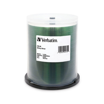 Verbatim 94970 CD-R Shiny Silver Silk Screen Printable (100 Disk Spindle)