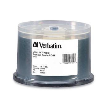 Verbatim 96159 UltraLife Gold Archival Grade CD-R 80Min 700MB 52X - Spindle of 50