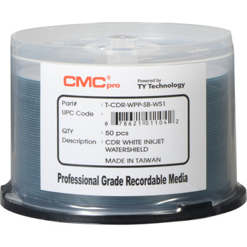 CMC Pro CD-R Glossy White Inkjet Printable, WaterShield, 80 Minute/700mb, 52X - Increments of 50 T-CDR-WPP-SB-WS1