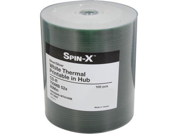Spin-X CD-R 80 Minute/700mb, 52X, White Thermal Hub Printable-Increments of 100 80R52SNG-WTH100B