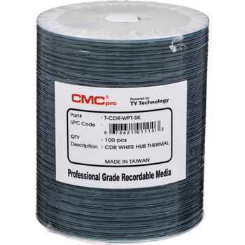 CMC Pro CD-R Disc White Thermal Everest Hub Printable (formerly JVC/Taiyo Yuden) T-CDR-WPT-SK
