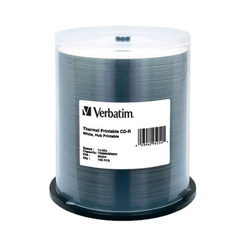 Verbatim 95254 CD-R Disc White Thermal Hub Printable Everest Compatible Spindle of 100
