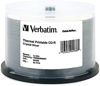Verbatim CD-R 94938 Crystal (Everest) Thermal Printable  Disc 80MIN 700MB 52X DataLifePlus Spindle of 50 disc