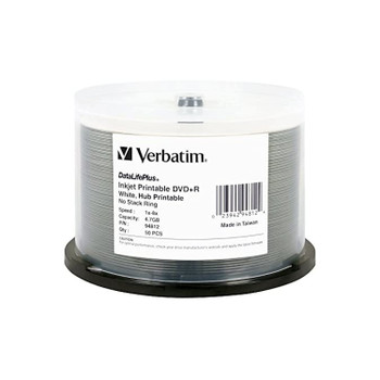 Verbatim 94812 DVD+R 4.7GB for General use 8X White Inkjet Hub Printable 50 Disc Spindle