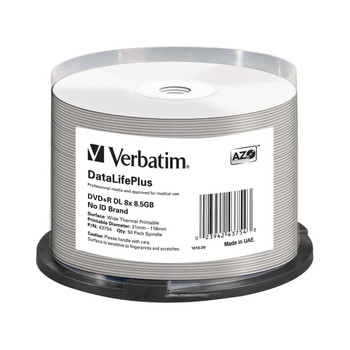 Verbatim 43754 DVD+R DL Disc 8.5GB 8x White Thermal Everest Hub Printable 50 Disc Spindle