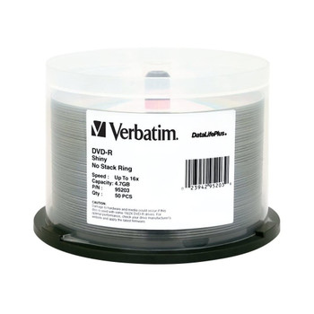 Verbatim 95203 DVD-R 4.7GB 16x Shiny Silver Surface DataLifePlus 50 Disc Spindle