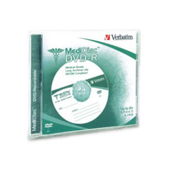 Verbatim 94905 MediDisc Medical Grade DVD-R 4.7GB 8X Verbatim Branded Thermal Printable in Jewel Case