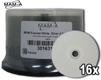 MAM-A DVD-R 4.7GB, 16x Silver Thermal Hub Printable Disc 163158