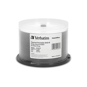 Verbatim 94853 DVD-R 4.7GB 1x/8x DataLifePlus White Thermal Print Hub Printable - Increments of 50