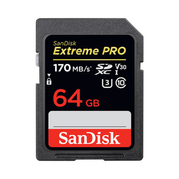 SANDISK EXTREME PRO SDXC MEMORY CARD, 64GB, UHS-I, 170MB/S READ SPEEDS SDSDXXY-064G-ANCIN