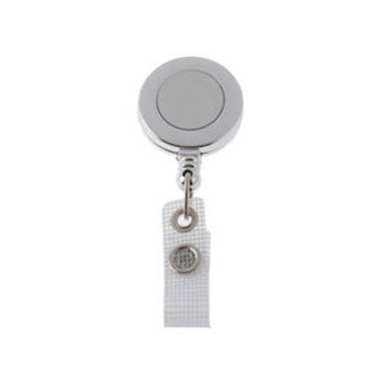 "Brady Reel and Strap - Badge Reel, Chrome, 1-1/4"" (32 mm), Plastic Clip-On Badge Reel, Silver Sticker, Reinforced Vinyl Strap with Slide-Type Belt Clip. Quantity of 25."