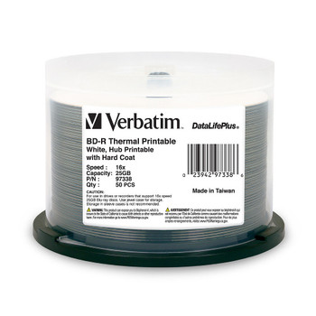 Verbatim Blu-Ray BD-R 25GB 6X DataLifePlus White Thermal Hub Printable-97338