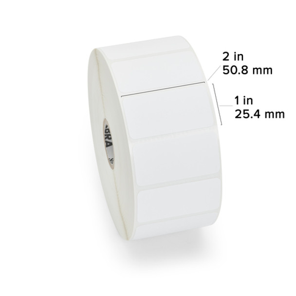 Zebra 10010028 - White Label, Paper, 2 x 1in, Direct Thermal, Z-Perform 2000D, 1 in core, 6 Rolls/Carton Showing Label Dimensions