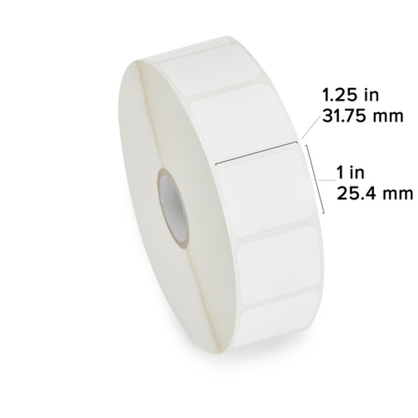 """Zebra Technologies 10010038 Direct Thermal Label, Z-Select 4000D, 1.25"""" x 1"""", 1"""" Core, 5"""" OD, 2340/Roll (Pack of 6)"""