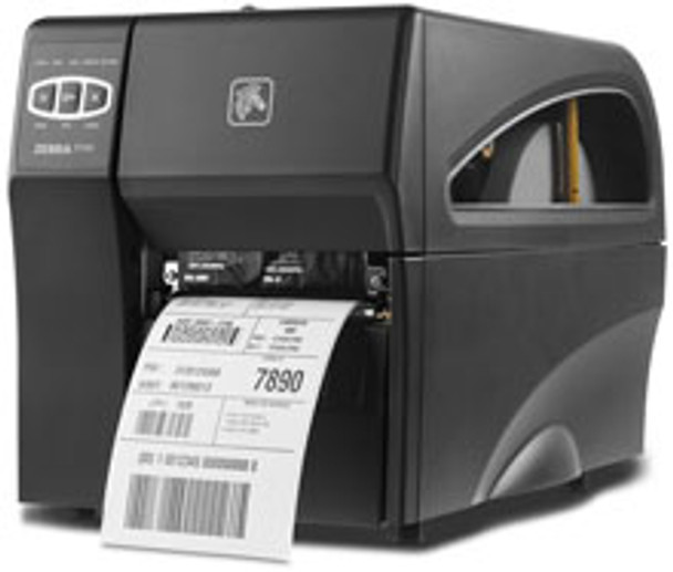 """Zebra ZT220 Direct Thermal/Thermal Transfer Printer - Monochrome - Desktop - Label Printer, Industrial thermal transfer barcode printer, 203 DPI, 4"""" print width, Tear bar, Interface Options: Ethernet, USB, Serial, Emulation languages: EPL 2 and ZPLII, Includes North America power cord"""