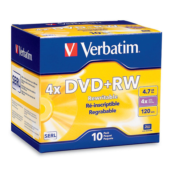 Verbatim 94839 DVD+RW 4.7GB 4x Speed DataLifePlus In Slim Jewel Case