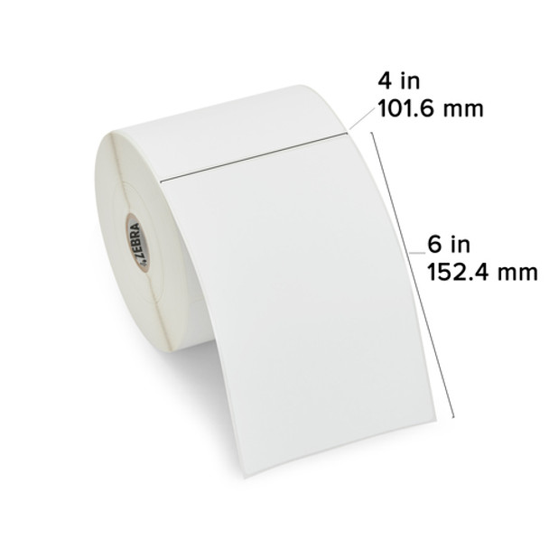 Zebra 10010034 - White Label, Paper, 4 x 6in, Direct Thermal, Z-Perform 2000D, 1 in core, 6 Rolls/Carton Showing Label Dimensions