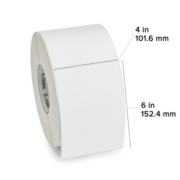 Zebra 10000301 - White Label, Paper, 4 x 6in, Direct Thermal, Z-Perform 1000D, 3 in core, 4 Rolls/Carton Showing Label Dimensions