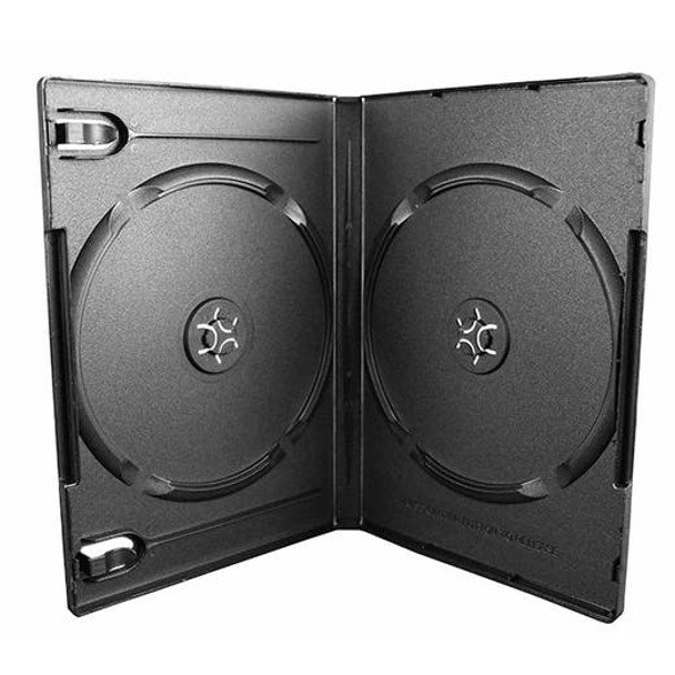 2-Disc DVD Case - Black - 14mm - Textured - with Overlay and Literature Clips