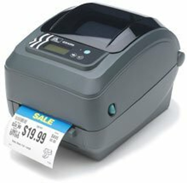 """Zebra GX42-102411-000 Barcode Label Printer Zebra GX420t - Thermal transfer/Direct thermal printing, 203 dpi, 4"""" print width, USB, Serial, Ethernet Interfaces, Dispenser. Includes power cord and USB cable."""