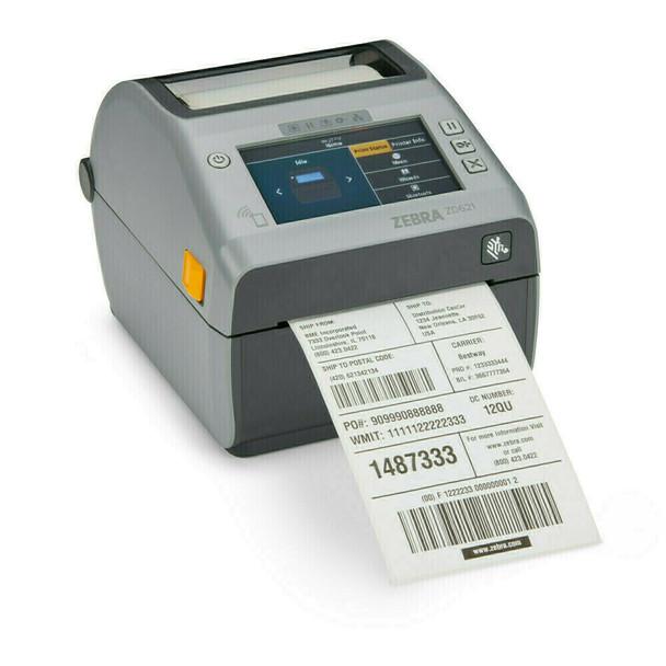 "ZD621 Direct Thermal 4"" Width Printer;Color Touch LCD, 203 dpi, USB, USB Host, Ethernet, Serial, 802.11ac, BT4, USA/Canada, Dispenser (Peeler), US Cord, Swiss Font, EZPL, ZD6A142-D11L01EZ"